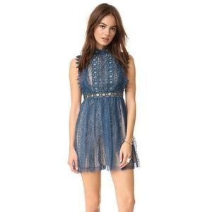 NWT Free People Forever Lace blue Sapphire dress 0